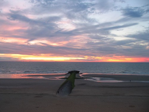 sunset over oostende