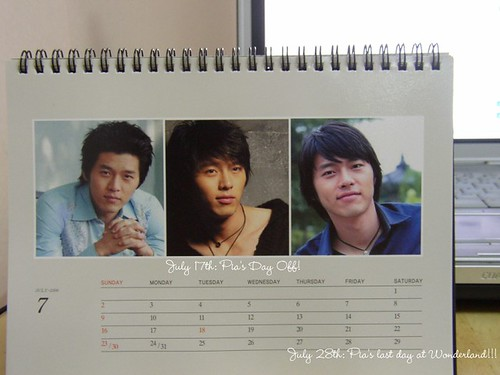 My Hyun Bin calendar. (This blog has hit an all-time low.)