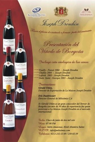 INVITACION SEMINARIO JOSEPH DROUHIN