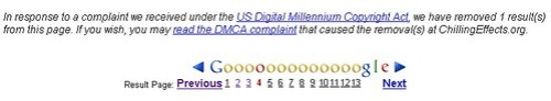 Google DMCA warning: OMG