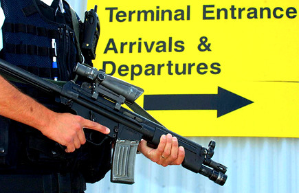 Guard at Teesside Airport following terror alerts 9 Aug 2006
