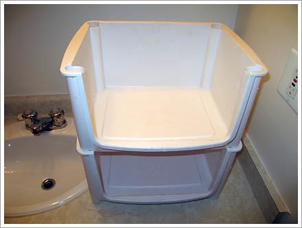 White plastic drawers