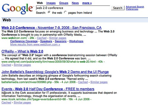 Web 2.0 Conference Google search!