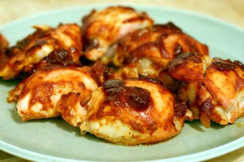 chicken with homemade barbecue sauce