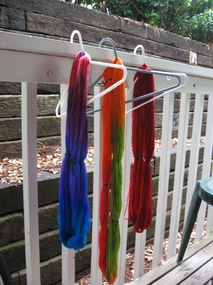 sock yarn on the railing