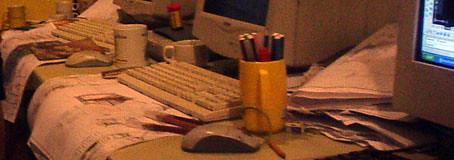 untidy workstation
