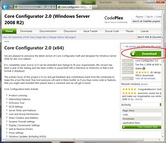 Web Page of Core Configurator