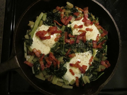 Baked Eggs with Swiss Chard