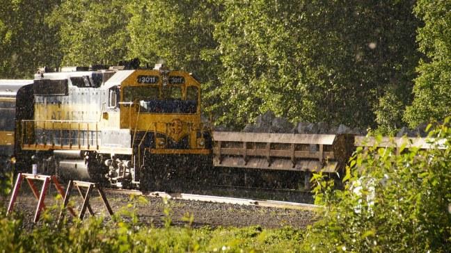 Alaska Railroad in the rain