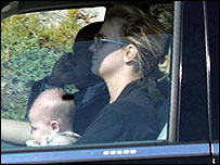 Britney driving with baby in tow