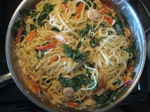 Garlic Shrimp and Spinach Linguine