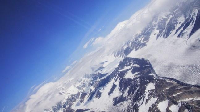 Steep turn above Denali National Park
