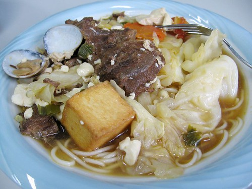 beef brisket hot pot with noodles