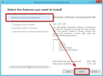「Windows Software Development Kit」を選んで「Install」する