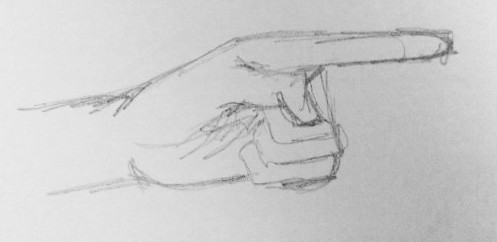 Drawing of a hand without a reference