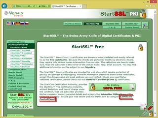 StartSSL Free (Class 1) の説明ページの「Certificate Control Pannel」と書かれた箇所をクリックする