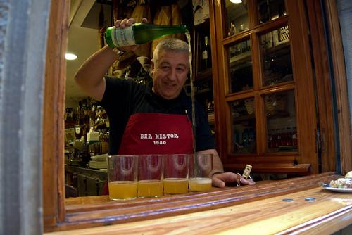 Nestor pouring Cider in San Sebastian