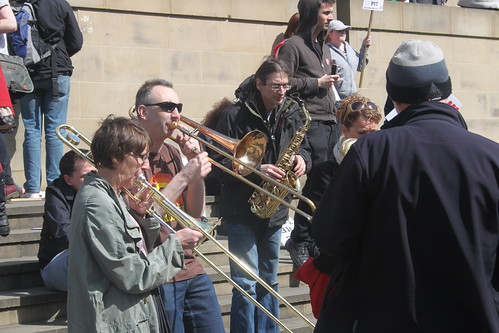 Musical light relief at the Leeds against the bedroom tax rally