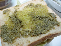 bread and pesto sauce