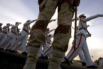 New Pesh Merga officer cadets march at Qala Cholan Military Academy in Kurdistan Iraq 1 Jun 05
