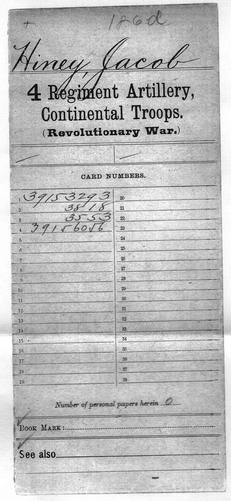 Jacob Heiney's index card