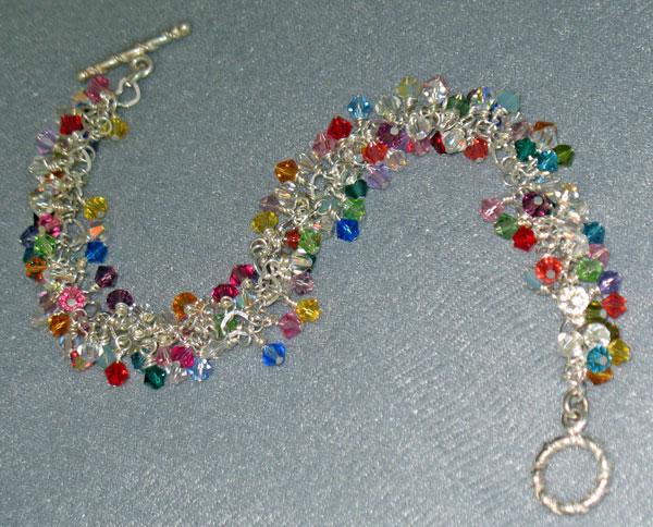 Swarovski Crystal & Sterling Silver Charm Bracelet