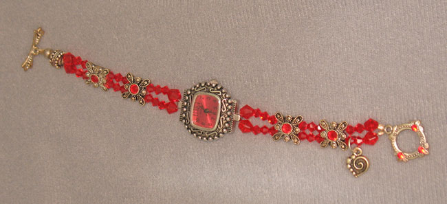 Red Swarovski Crystal Watch Bracelet