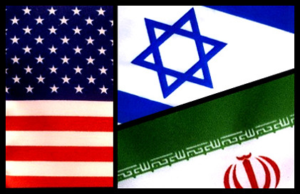 US, Israeli, and Iranian flags