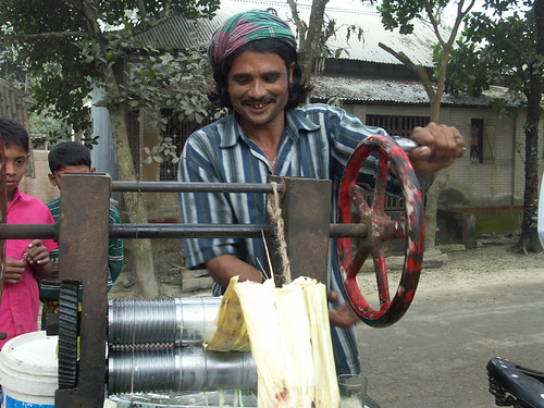 Sugar cane juice, fresh out of factory!! Another grameen project