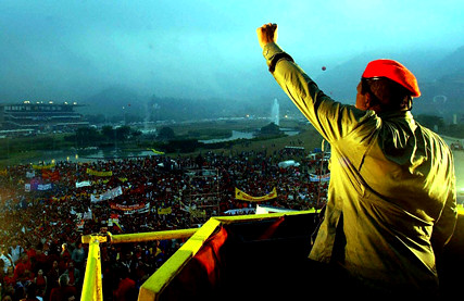 Chavez rallies the faithful against the IMF in Caracas 5 Feb 2004