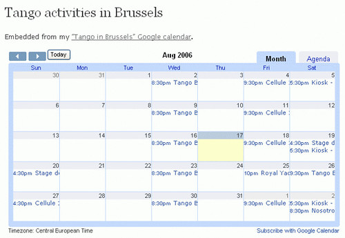 Tango activities in Brussels