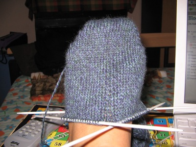 First sock on my foot