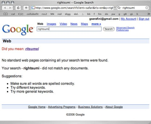 Google results for