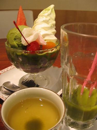 macha green tea ice cream and hot and cold macha green tea