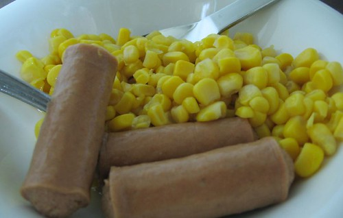 sausages and corn