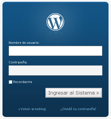 Acceso al nuevo wordpress