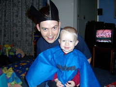 Daddy and Harrison ready for Halloween