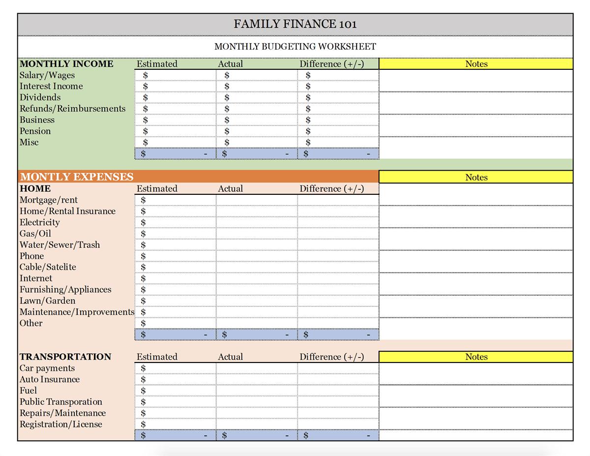 Income Vs Expenses Worksheet