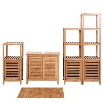 Set Complet De Salle De Bains Hwc B18 Meuble Armoires Etageres Bambou Achat Prix Fnac