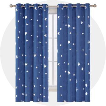 deconovo lot de 2 rideaux salon decoration motif etoile argente occultant thermique anti chaleur froid a oeillets 168x183cm rideau bleu roi salle a