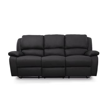 canape relaxation 3 places simili cuir detente couleur noir