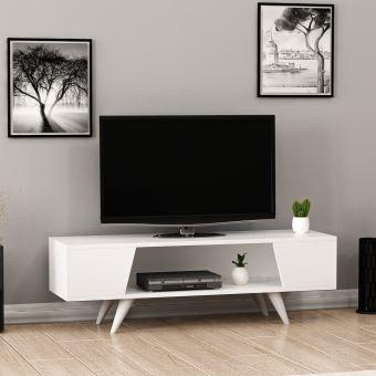 homemania meuble tv nouby avec etageres pour salon blanc en bois 120 x 35 x 38 cm