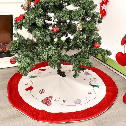 jupe de sapin de noel tapis couvre pied rouge blanc 120cm