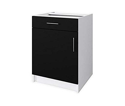 obi meuble bas de cuisine 60 cm noir mat