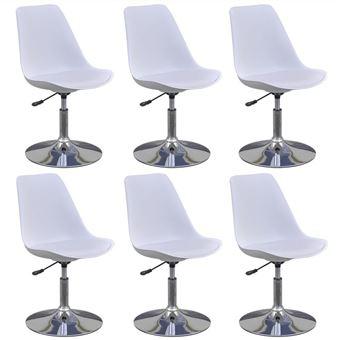 vidaxl chaise de salle a manger 6 pcs hauteur reglable blanc