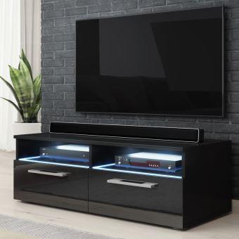 meuble tv banc tv silver 100 cm noir mat noir brillant avec led style moderne