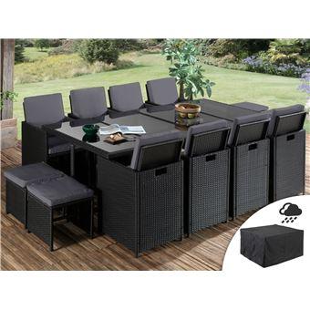 sophia salon de jardin encastrable 12 places en resine tressee noir avec coussins gris housse de protection couleur noir
