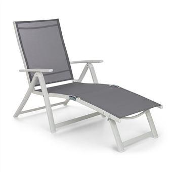 blumfeldt pomporto lounge chaise longue transat bain de soleil 7 positions pvc aluminium blanc gris