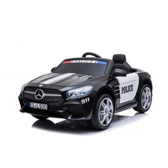 voiture de police electrique mercedes benz sl500 pour enfant 2 x 40w marche avant et arriere phares fonctionnels musique klaxon ceinture