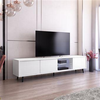 meuble tv meuble de salon galhad 175 cm blanc mat blanc brillant grande capacite de rangement eclairage led